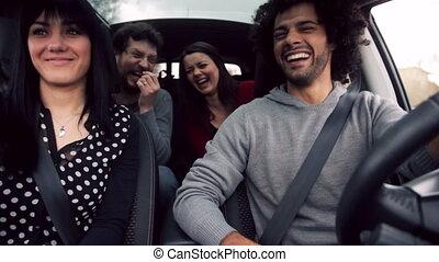 plezier, auto, vrienden, hebben, partij