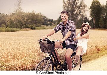 plezier, paardrijden, paar, fiets, hebben