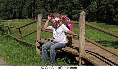 plezier, park, maken, dochter, vader