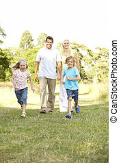 plezier, platteland, hebben, gezin