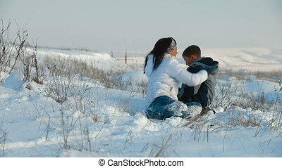 plezier, sneeuw, gezin