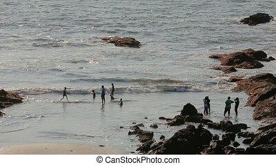 plezier, strand, hebben, mensen
