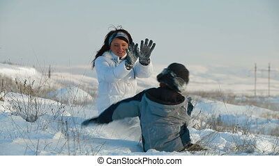 plezier, winter, gezin