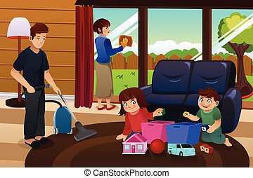 poetsen, gezin, woning