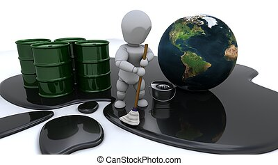 poetsen, olie, op, man, morsen