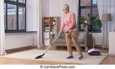 poetsen, reinigingsmachine, vrouw, vacuüm, senior, thuis