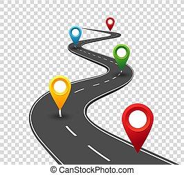 pointers., reis, zakelijk, straat, wikkeling, infographics., succes, voortgang, concept, spelden, way.