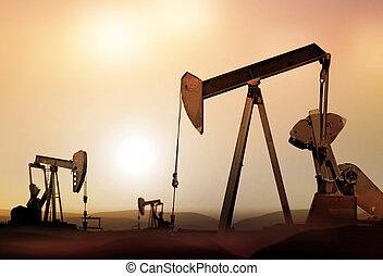 pompen, olie, silhouette, retro