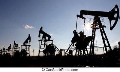 pompen, olie, silhouette, werkende