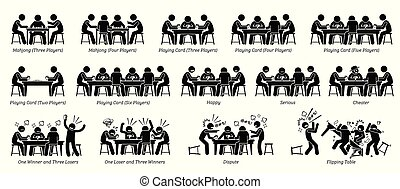 pook, mensen, kaart, spel, mahjong, tafel., spelend