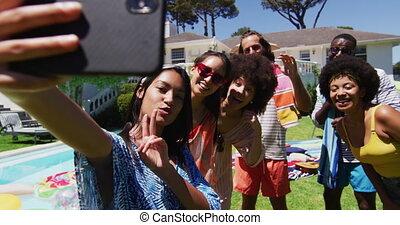 pool, boeiend, selfie, vrienden, anders, feestje, groep