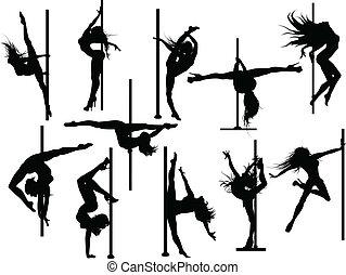 pool, danser, silhouettes