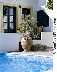 pool, grieks architectuur, cyclades, zwemmen