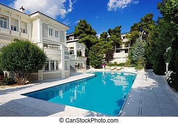 pool, luxe, zwemmen, villa