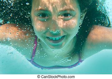 pool, meisje, onderwater zwemmen