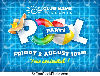 pool, poster, mal, feestje