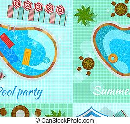 pools, bovenzijde, concept, zwemmen, aanzicht