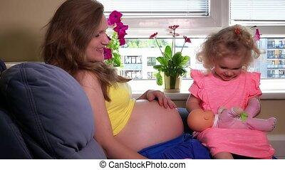 pop, baby, moeder, speelbal, toneelstuk, toddler, dochter