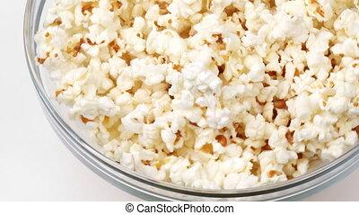 popcorn, beeldmateriaal, draaien, kom
