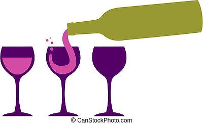portie, fles, wineglasses, wijntje