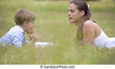 portie, mamma, huiswerk, zoon