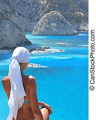porto, eiland, strand, lefkas, griekenland, katsiki, ionian