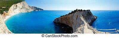 porto, (lefkada, zomer, panorama, katsiki, strand, greece)