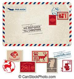 porto, postkaart, ouderwetse , -, kerstmis, postzegels, vector, plakboek, ontwerp