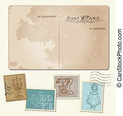 porto, postkaart, ouderwetse , -, ontwerp, uitnodiging, postzegels, trouwfeest, plakboek, felicitatie