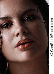 portrait., aantrekkelijk, close-up, make-up, brunette, verticaal, neutraal, studio, vrouw, jonge