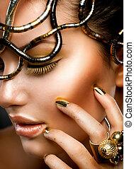 portrait., meisje, makeup, mode, goud