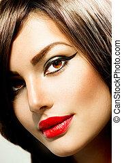 portrait., vrouw, makeup, mode, beauty
