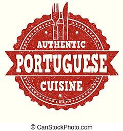 portugees, grunge, keuken, postzegel, rubber, authentiek