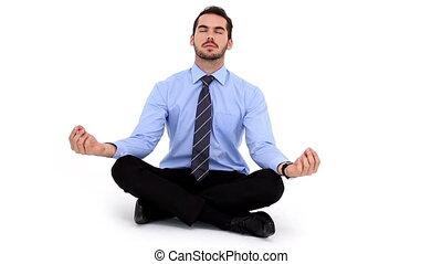 pose, zittende , lotus, zakenman