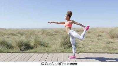 positie, vrouw, yoga
