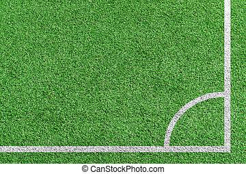 position., gras, schop, hoogste mening, hoek, voetbal