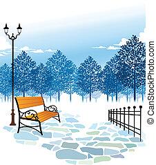 post, bankje, park, lamp