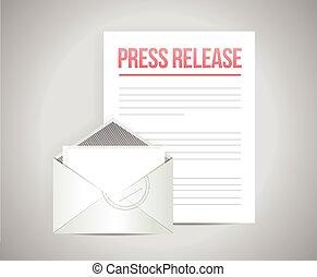 post, boodschap, drukken, vrijgave