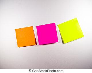 post-it, kleurrijke, titel