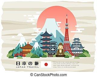 poster, japan, aantrekkelijk, reizen