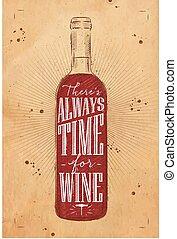 poster, kraft, tijd, wijntje