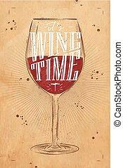 poster, kraft, wijntje, tijd