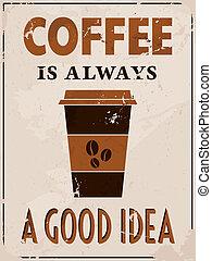 poster, stijl, koffie, retro