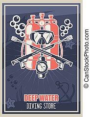 poster, typografie, duiken, winkel, scuba, uitrusting, vector, ouderwetse , illustratie, mal