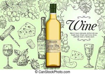 poster, vector, mal, witte , spandoek, wijntje
