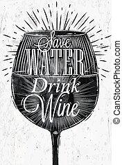 poster, vintage wijn