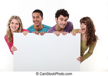 poster, vrienden, groep, vasthouden, leeg