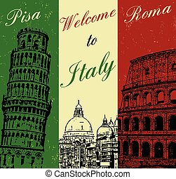 poster, welkom, italië, ouderwetse