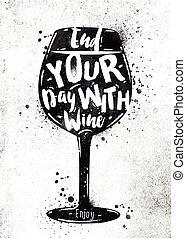 poster, wijntje
