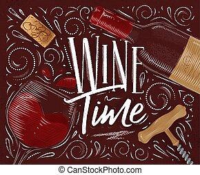 poster, wijntje, rood, tijd